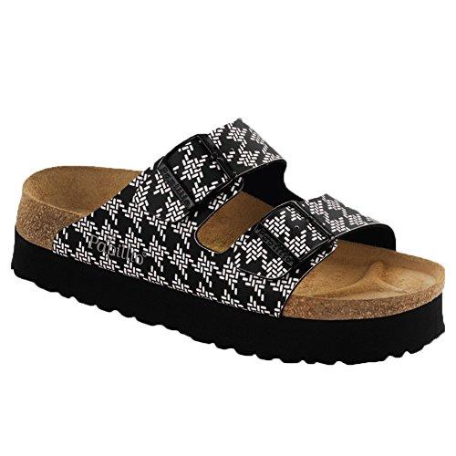Birkenstock Women's Arizona Platform Knotted Black Birko-Flor? Sandal 39 (US