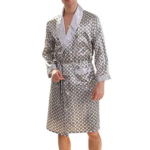 Uomo grau Silber Estate Robe Premium Gonna Seta Da Elegante Pigiama Peso Camice Leggero Accappatoio 5xUwqS7O