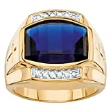 Palm Beach Jewelry Men's Lab Created Blue Sapphire Diamond 18k Yellow Gold-Plated Ring Size 8