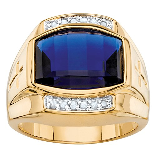 Lab Sapphire Ring - Palm Beach Jewelry Men's Lab Created Blue Sapphire and Diamond 18k Yellow Gold-Plated Ring Size 10
