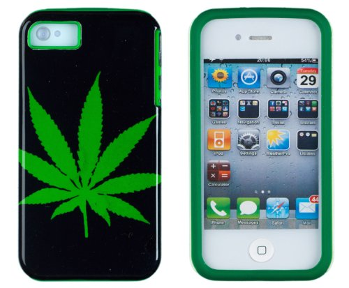 DandyCase 2in1 Hybrid High Impact Hard Marijuana Pot Leaf Pattern + Green Silicone Case Cover For Apple iPhone 4S & iPhone 4 + DandyCase Screen Cleaner