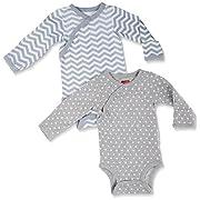 Skip Hop -Baby Starry Chevron Side Snap Long Sleeve Bodysuit Set, Grey, 6M