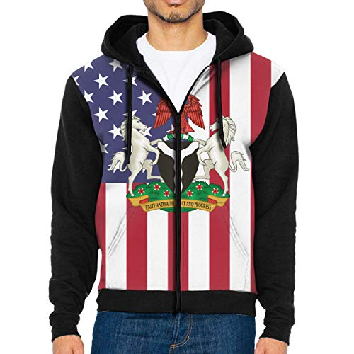 oat of Arms Full Zip Sweatshirt Drawstring Hoodies with Pockets Black ()