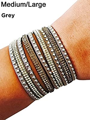 "Fitness Tracker Bracelet for Fitbit Flex and Other Fitness Trackers - The TINLEY Rhinestone Studded Snap Bracelet - Size XS/S or M/L (5.75""- 7"")"
