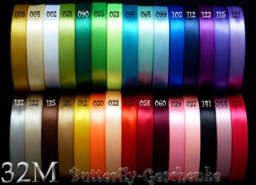 32m Satinband 12mm (012 gelb) // Schleifenband einseitiges Hochzeit Taufe Deko Band Dekoband Geschenkband 15mm 1,5cm 10mm 1cm