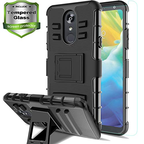 Aetech Phone Case for LG Stylo 4 Case, LG Stylo 4 Plus/Stylo 4+/Q Stylus/Stylus 4/LG L713/Q710 Cell Phone Case, with Tempered Glass Protector Screen Kickstand Stand Cover, Black ()