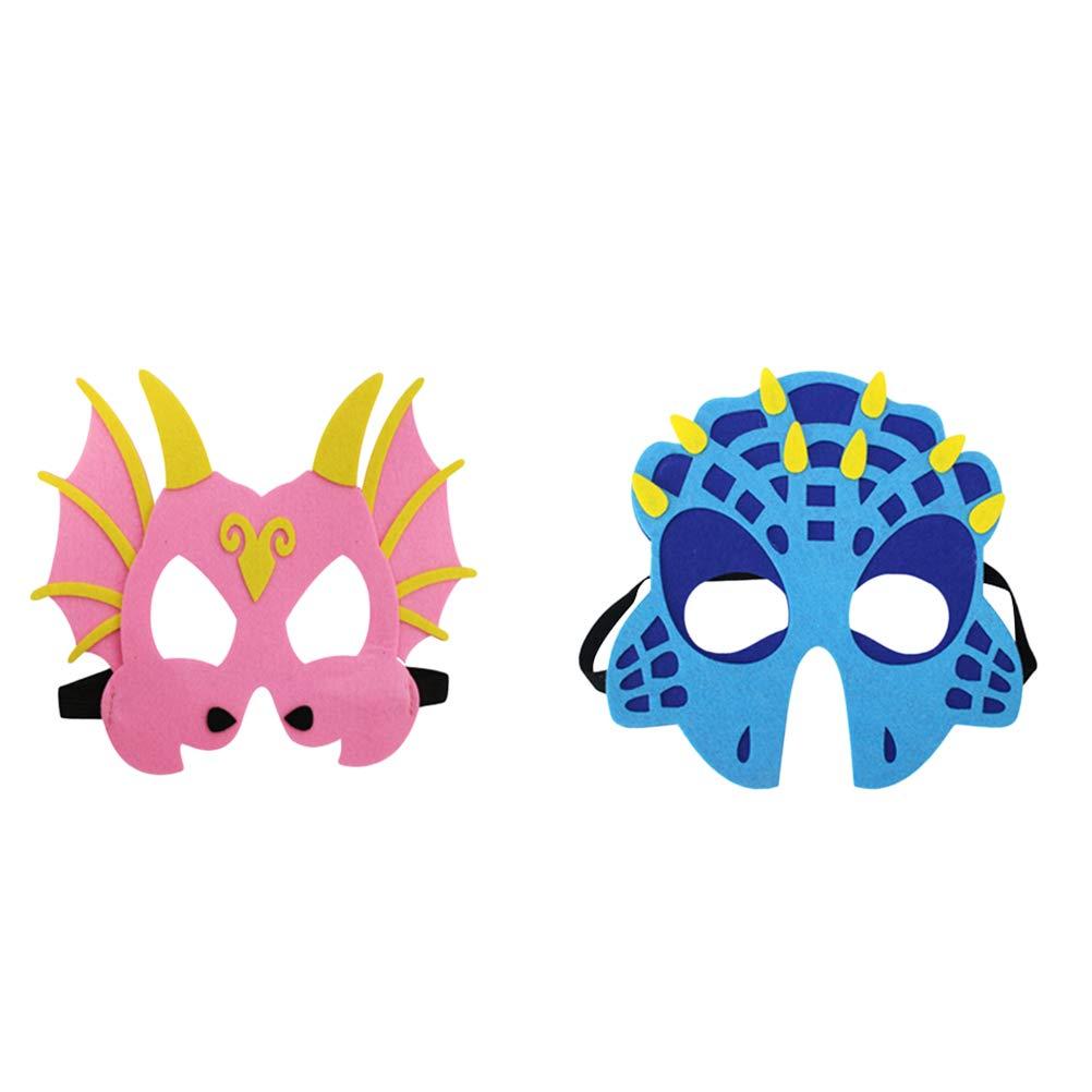 YeahiBaby 7PCS Máscaras de Cara de Dinosaurio Máscaras de Ojo para niños Suministros de Fiesta para niños