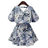 JYB V neck short sleeve dress women's clothing collection floral print dress short skirt girl swing dress , l