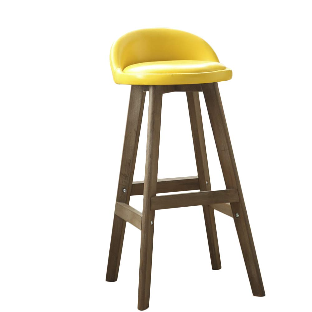 LIQICAI Wooden Bar Stool with Faux Leather Backs Seat Extremely Comfy Barstool, Gray Stool Frame, 4 Colors Optional (Color : Yellow)