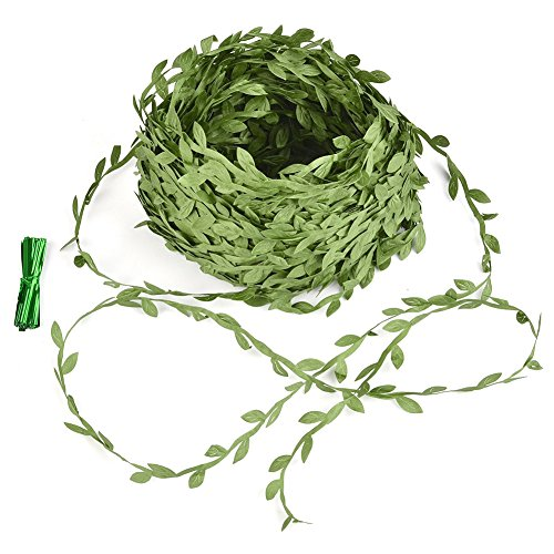 ATPWONZ Artificial Green Leaf Cloth Green Leaves Rattan Leaves Wreath Accessories Fake Vine Leaf for Decoration(40m) /with 50 Packs Iron - State Shopping Garden Mall