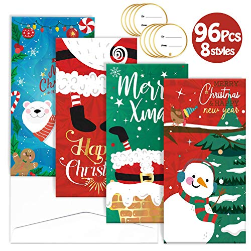 96Pcs Christmas Gift Card Money Holders Set 8 Unique Design Including 32 Greeting Cards 32 Envelopes 32 Stickers with Holographic Texture