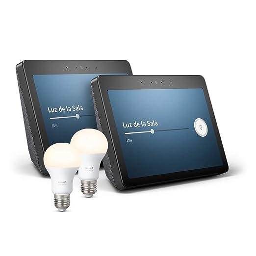 2 Echo Show (2.ª generación) – Sonido de alta calidad y sensacional pantalla HD de 10 pulgadas, negro + 2 Bombillas Philips Hue White LED E27