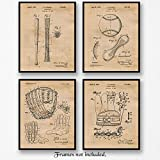 Original Baseball Patent Art Poster Prints - Set of 4 (Four) 8x10 Unframed Vintage Style Mitt, Glove, Bat & Baseball Pictures - Great Wall Art Decor Gifts for MLB Fan, Man Cave, Gym, Office
