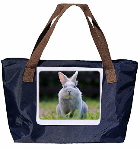 Shopper /Schultertasche / Einkaufstasche / Tragetasche / Umhängetasche aus Nylon in Navyblau - Größe 43x33cm - Motiv: Kaninchen / Zwerkaninchen Porträt - 03