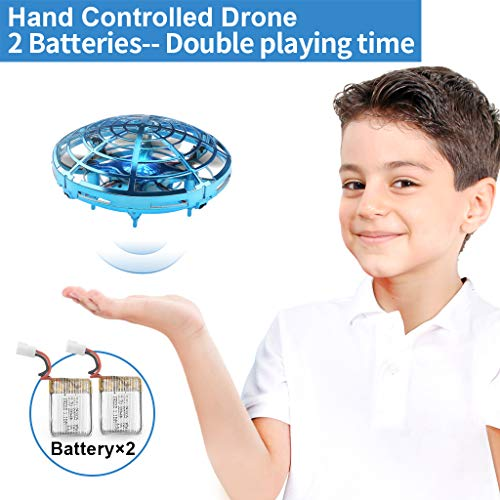 Flying Toys Drones for Kids Mini Drones for with 2 Rechargeable Batteries Hand Operated Flying Ball Drone Toys with 2 Speed and LED Light for Kids and Adults