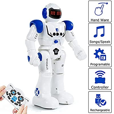 KINFAYV Remote Control Robot Toy for Kids - RC Smart ProgrammableRechargeable Robot Toy with Infrared Controller Senses Gesture, Sings, Walks, Speaks, Turns, Dances for Boys, Girls, Children