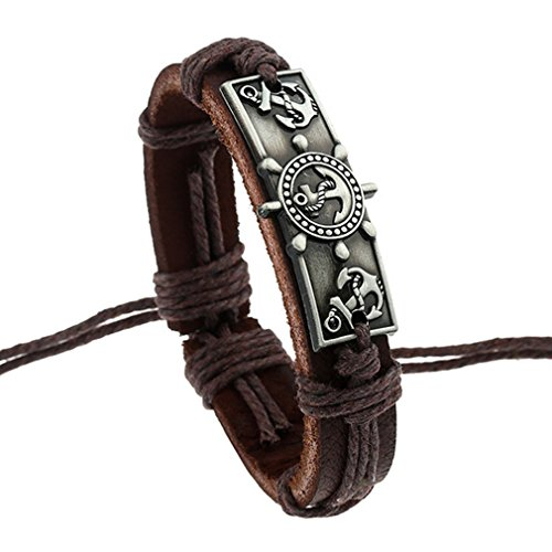 Alloy Boat Anchor Leather Bracelet - 4