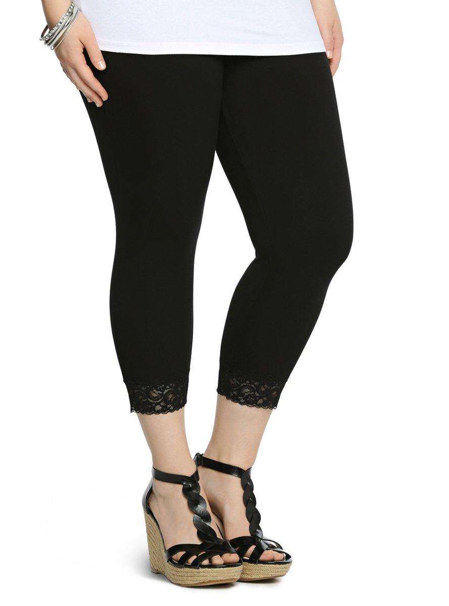 Black Lace Mid Calf Leggings Black 1