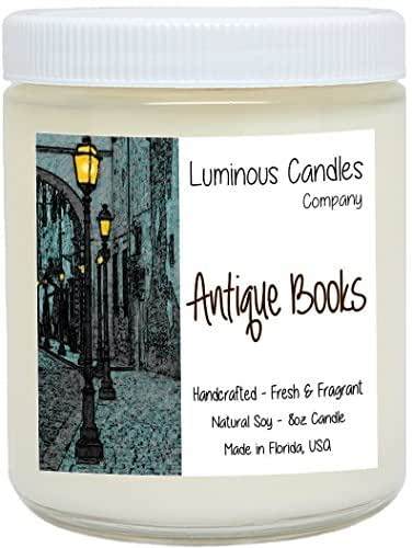 Scented Candle - Antique Books - 8 oz Vintage Leather Bound Book Fragrance By Luminous Candles Company