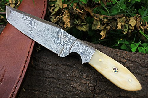 DKC-515 WHITE BUCK Damascus Tanto Hunting Handmade Knife Fixed Blade 9.5 oz 9  Long