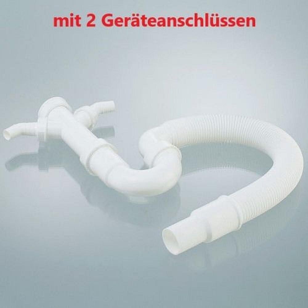 ew-haustechnik–Sifón 11/2pulgadas x diámetro 40/50mm con salida flexible, ángulo de 90° y dos puertos greäte (2GA) para fregaderos.