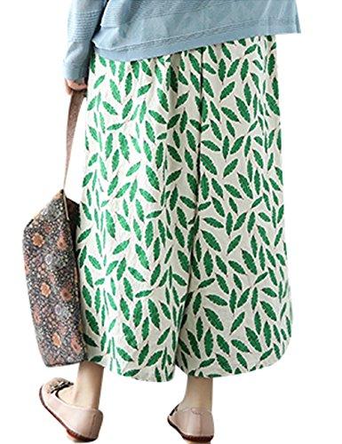 Youlee Mujeres Verano Otoño Cintura elástica Pantalones de pierna ancha Estilo 1