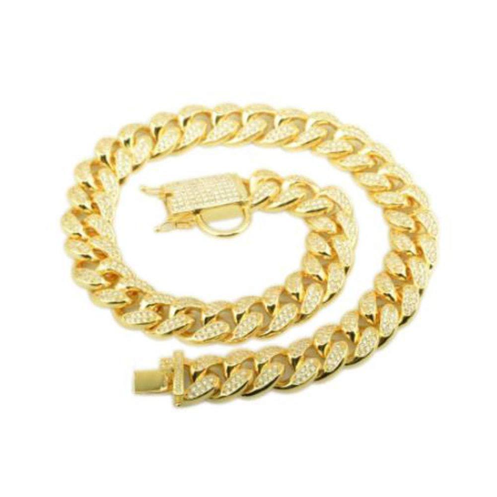 Petoo Dog Chain Necklace with Diamonds 18mm Brass Cuban Curb Link Lock Choke Collar Pet Supplies,Gold Tone 18''