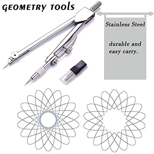7 Piece Geometry School Set,with Quality Compass, Linear Ruler, Set Squares, Protractor, by XiangLv (Image #2)