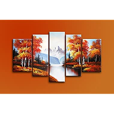 Ode-Rin Hand Painted Mordern Oil Paintings Autumn Trees Landscape 5 Panels Wood Inside Framed Hanging For Home And Wall Decoration