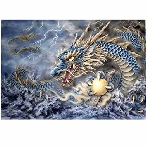 Grace Painter 5D DIY Chinese Dragon Diamond Painting Mosaic Diamond Embroidery Painting Full Drill Round Diamond Counted Cross Stitch Paint by Number Kits Home Decor Canvas Size 21.7x29.5 inch