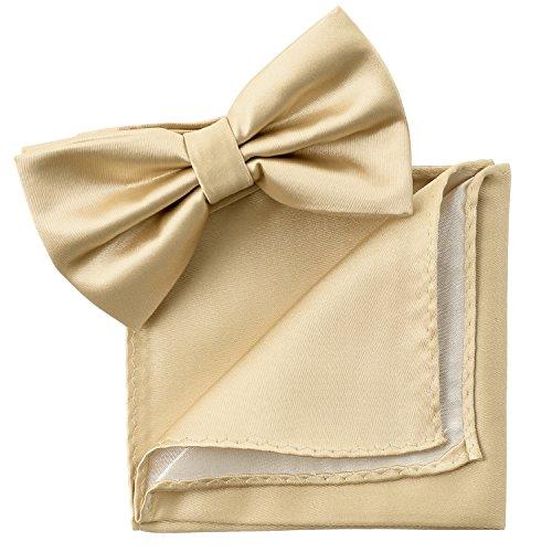 IDARBI Mens Classic Solid Bow Tie and Handkerchief Set Bowtie Hanky Set BEIGE