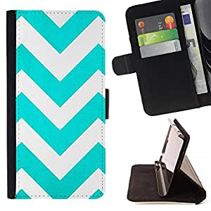 Jordan Colourful Shop - Teal White Stripes Pattern For Apple Iphone 4 / 4S - Leather Case Absorci???¡¯???€????€?????????&A