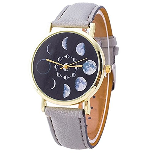 Polytree Unisex Moon Phase Astronomy Space Watch Faux Leather Band Quartz Wrist Watch  Grey