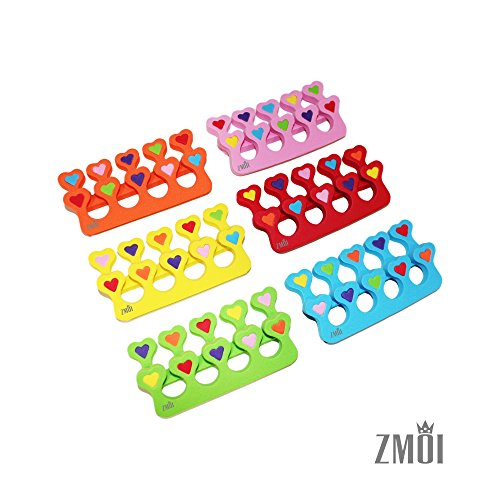 Colorful Heart Toe Separators - Cute Design for Kids - Super Soft, Durable 10 Packs ZMOI