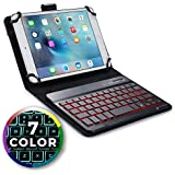 Cooper Backlight Executive Keyboard case for 7-8'' inch Tablets | 2-in-1 Bluetooth Wireless Backlit Keyboard & Leather Folio Cover | 7 Color LED Keys, 100HR Battery, 13 Hotkeys, Universal (Black)