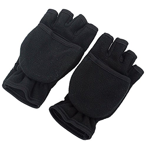 ieasysexy Warm Resistant Gloves Fleece Dual Gloves,Non-Flip Warm Gloves Rubber Mitts Gloves,Expose Half Finger,Suit in the Winter (Black)