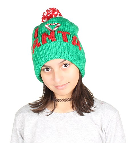 Gilbins Christmas Holiday Fashion Winter Knitted Reindeer, Snow Man, Penguin and Christmas Tree Beanie Hat I Love Santa