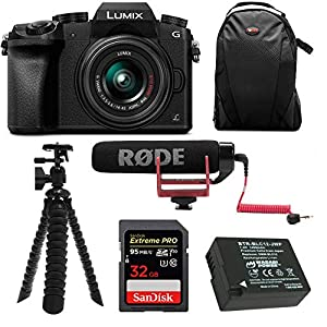 51DXrYCd9WL. SS300  - Panasonic LUMIX G7 Digital Camera with 14-42mm f/3.5-5.6 Lens and Koah Microphone Accessory Bundle (6 Items)