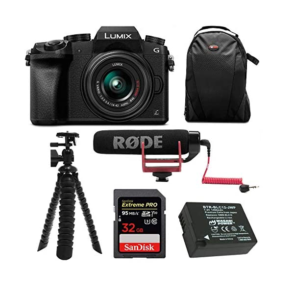 51DXrYCd9WL. SS600  - Panasonic LUMIX G7 Digital Camera with 14-42mm f/3.5-5.6 Lens and Koah Microphone Accessory Bundle (6 Items)