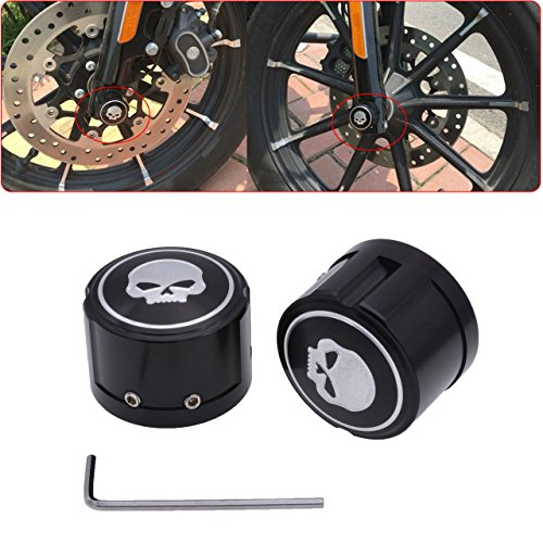 Front Cover Kit - TUINCYN Motorcycle Aluminum Front Axle Cover Cap Nut Bolt Skull Decorative Hardware Kit For Harley Sportster XL883 XL1200 Black (1 pair)