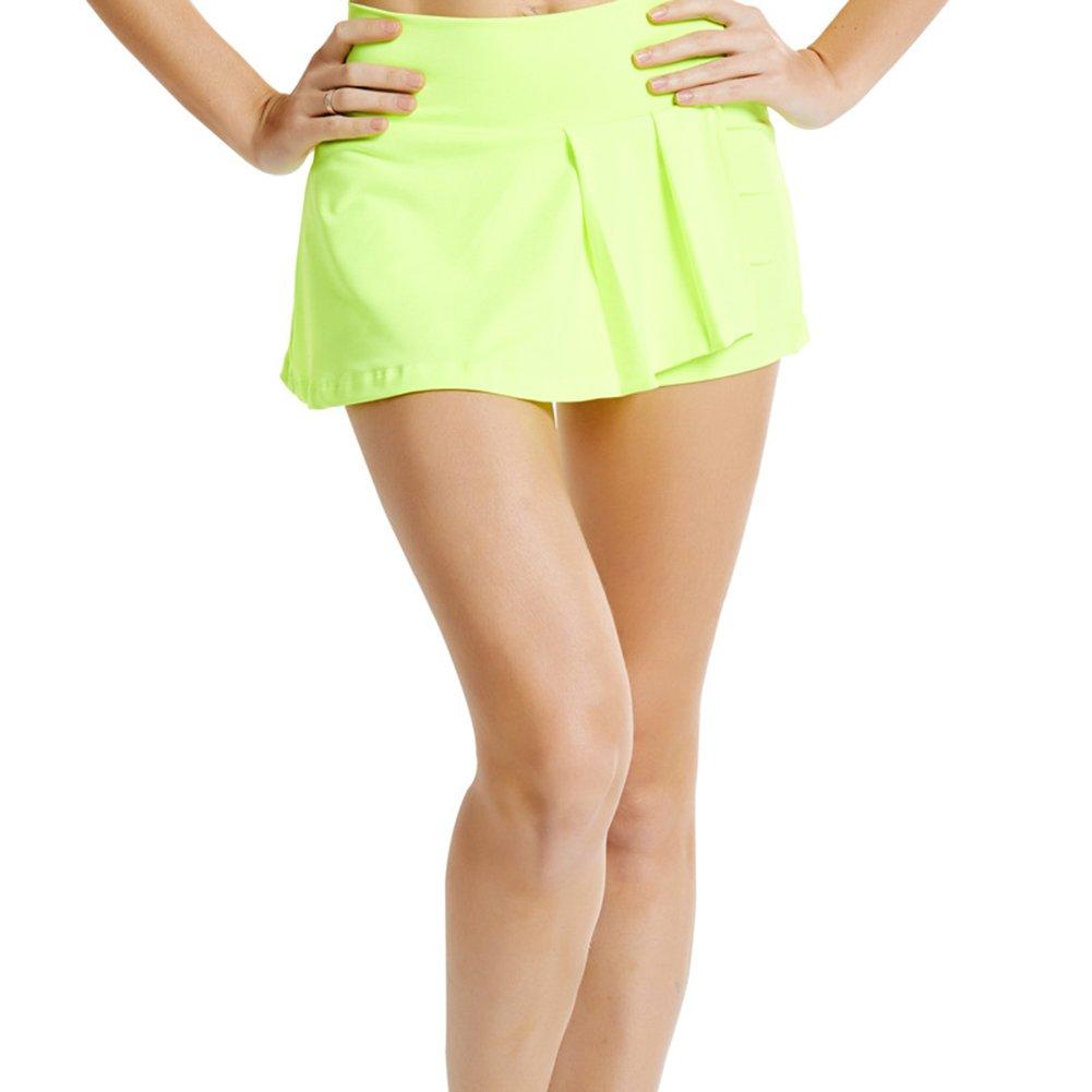TopTie Women Running Tennis Skirt Skort, Sport Skort with Side Pockets-Lime-XS