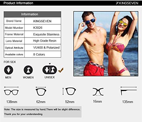 b1b2af695f KINGSEVEN Unisex Stainless Steel Frame Polarized Sunglasses Frog Mirror  Reflector Aviator Sunglasses (Golden Frame