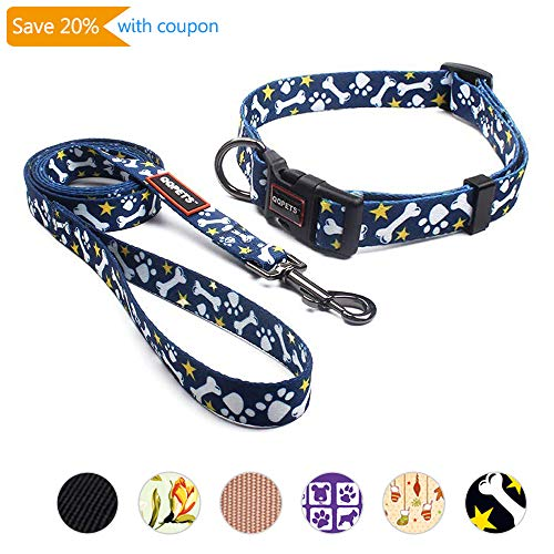 QQPETS Heavy Duty Dog Collar and Leash Set for Medium Puppy Breed Female Male Up to 70lbs Adjustable Neck:13-21inch Durable Nylon Quick Release Buckle Cute Bone Pattern Blue ()