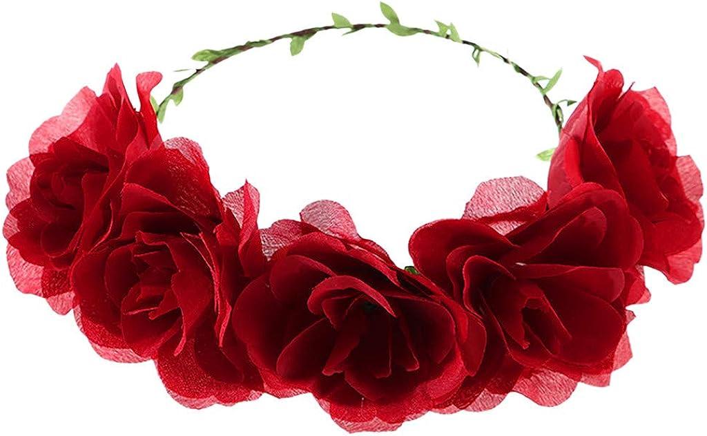 Amazon.com: Diadema de flores para mujer, corona floral 2019 ...