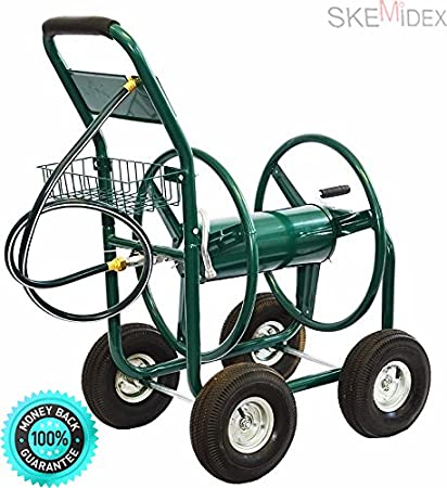 skemidex garden water hose reel cart 300ft outdoor heavy duty yard water planting - Garden Hose Reel Cart
