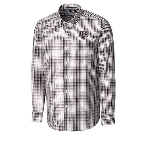 Ncaa Button Down Shirt - Cutter & Buck NCAA Texas A&M Aggies Men's Long Sleeve Gilman Plaid Shirt, Medium, Bordeaux
