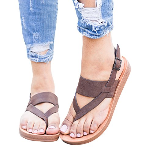 Back Strap Thong - Women's Slingback Strappy Comfy Flip Flop Ankle Strap Thong Insole Sandals