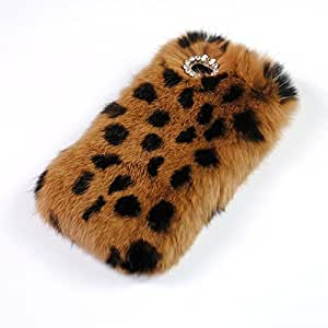 """iPhone 6 Plus Case, 5.5"""" Leopard Print Fluffy Cover [Genuine Rex Rabbit Fur Case] Winter Wammer Handmade Soft Crystal Shell Caselo 3 Pieces Phone Accessories, Extremely Luxury Bling Cover + Free Stylus Pen + Free Screen Protector Film + Free Unique Caselo Butterfly Earphone Jack Plug for iPhone 6 Plus for 5.5"""" inches"""