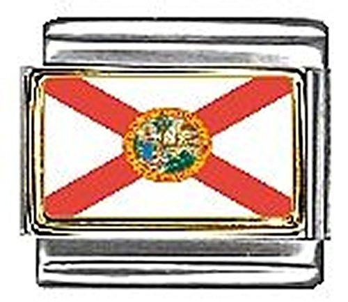 State of Florida Photo Flag Italian Charm Bracelet Jewelry Link - Florida Italian Charm