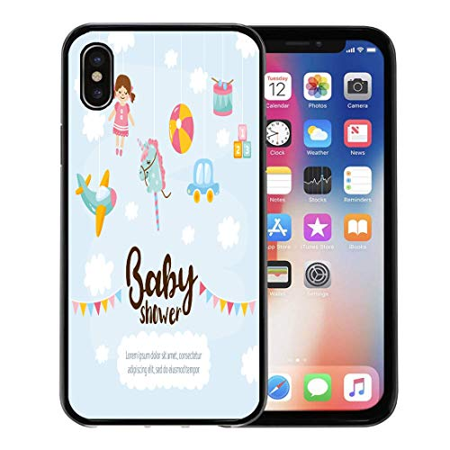 Emvency Phone Case for Apple iPhone Xs Case/iPhone X Case,Cute Amazing Kids Toy Aircraft Doll Unicorn Ball Little Soft Rubber Border Decorative, Black